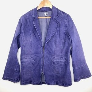 Diane Gilman DG2 Purple Zip Up Denim Coat L